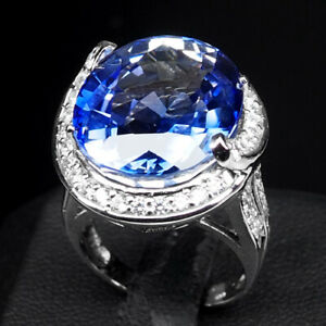 AAA VIOLET BLUE TANZANITE RING OVAL 24 CT. SAPPHIRE 925 STERLING SILVER SZ 6.75