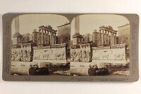Italia Roma Tempio Da Saturn Archeologia 1897 Foto Stereo Vintage Albumina