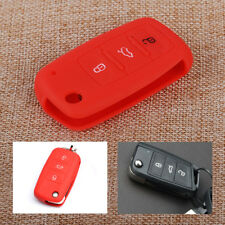 Red 3 Buttons New Silicone Car Remote Key Shell Flip Cover Fit For Skoda Seat VW