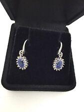 Sapphire White Gold 10k Fine Earrings