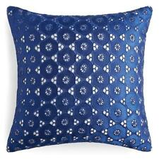 "New Sky Eyelet Cotton / Viscose 16"" Square Decorative Pillow Blue $115"
