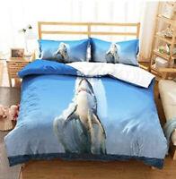 3D Leaping Shark Doona Duvet Cover Queen Bedding Quilt Cover PillowCase
