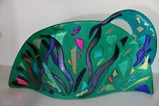 Fused Glass Contemporary Abstract Panel  Suncatcher Art Glass Wavy Shape Vivid