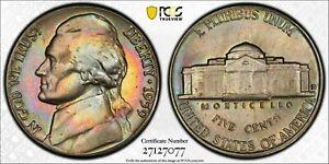 1959-D JEFFERSON NICKEL PCGS MS64 GEM RAINBOW COLOR MONSTER TONED UNC