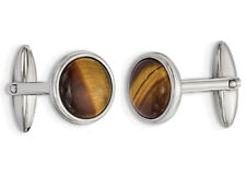 Mens Brown Tigers Eye Cuff Links in Stainless Steel