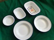 enamel Pie dishes & plates white with blue edge  5 items NEW