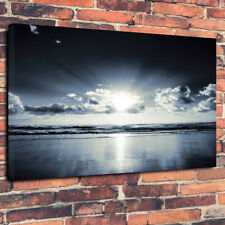 """Black And White Ocean Sunlight Printed Canvas Picture A1.30""""x20"""" 30mm Deep Frame"""
