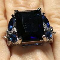 7Ct Princess Blue Sapphire Ring Women Wedding Jewelry 14K White Gold Plated