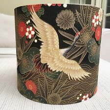 Handmade Lampshade Japanese Oriental Cranes Gold Black Brown Floral Birds