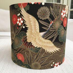 Handmade Lampshade Japanese Oriental Cranes Gold Black Brown Floral Birds