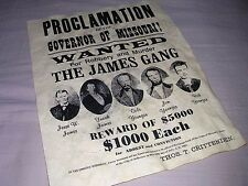 JESSE JAMES PROCLAMATION OLD WEST WANTED POSTER WESTERN SIGN !!!