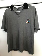 Vintage Mickey Mouse Kissing Minnie Disney Polo Shirt Gray Black Mens Size M