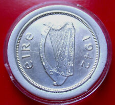 Rarest in Series AU+ 1942  IRELAND FLORIN FLOIRON 2 SHILLINGS SILVER  W HOLDER