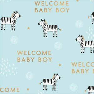 WELCOME BABY BOY Blue Gift Wrapping Sheet Paper New Baby Wrap Shower Birth