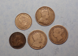 1894, 1900, 1903, 1909,1911  Canada 10 Cents 5 Cents Lot