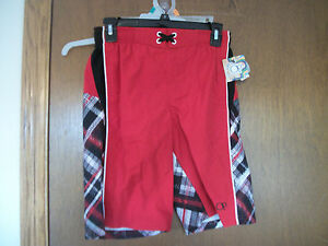 OP red and Black  Swim Trunks Shorts Swimming NWT 4-5 or 10-12