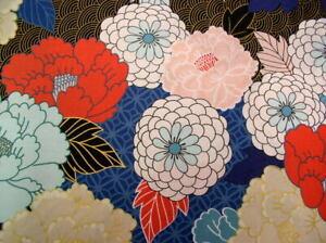 Alexander Henry Nicole's Prints Tokyo Mum Denim/Met Large Scale Floral Fabric