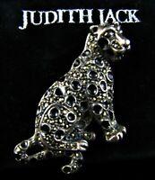 JUDITH JACK Sterling Silver 19G 925 Enamel LEOPARD Pin Brooch w/Pouch Marcasites