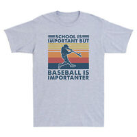 Retro School Is Important But Baseball Is Importanter Vintage Men's T Shirt Tee