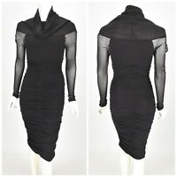 Womens Wolford Bodycon Dress Mesh Long Sleeve Nylon Black Size S