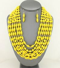 Seven Layers Yellow Faceted Lucite Bead Gold Tone Bead Necklace Earring Set