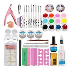 Nail Art Kits Natural Nail Tips Uv Gel Cuticle oil Pen Brush Nail Buffer Glue.