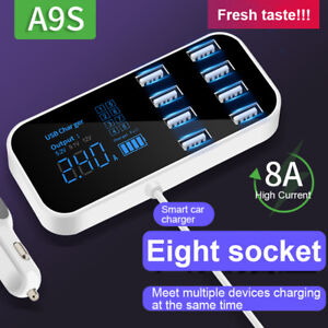 New Car 8 Ports USB Fast Charger Multi USB Phone Charging Station LCD Display US