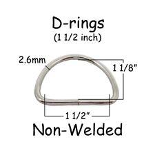 """10 Dee Rings - 1.5 Inch (1 1/2"""" - 38mm) Non Welded Nickel Plated Steel 10 gauge"""