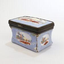 Antique Robin's Egg Blue 18th Century Battersea Enamel Snuff Box - VR