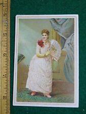 1870s-80s Brand's Brilliant Art Lady in Dress Hand Fan Victorian Trade Card F35