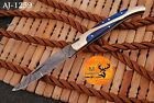 HAND FORGED DAMASCUS STEEL FOLDING POCKET KNIFE WITH WOOD & BRASS HANDLE AJ 1259