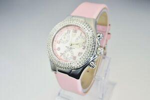 TechnoMarine Diamonds 1.2carats Diamonds New Soft Pink Leather Strap Unworn