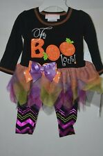 """BONNIE JEAN BABY, """"FaBOOlous"""" Halloween Outfit w/ Multi-Color Leggings, NWT"""