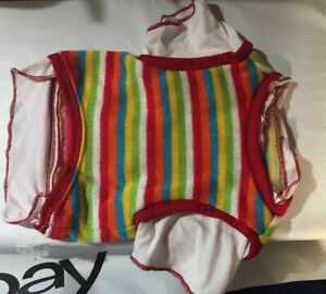 Snooty Dog Red Striped Thermal Shirt Vest White Retro Layered 10-12 inch