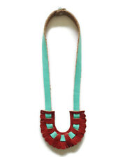 Necklace leather fringe handmade Eco-friendly women design turquoise and red