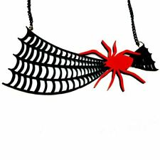 Quirky & Unusual Creepy Giant Black & Red Spider Web Acrylic Statement Necklace