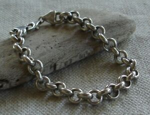 """Milor Italy Sterling Silver Round Rolo Link Chain Bracelet   7 5/8""""   13.1 grams"""