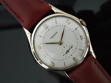 Gents Vintage 1970's 9ct Gold Rotary Hand Wound Mechanical Watch on Strap in Box
