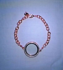 Fashion Rose Gold Tone Memory Locket Bracelet/Lobster Clasp, With Heart Charm