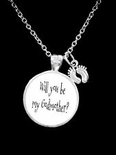 Necklace Will You Be My Godmother Baby Feet Christmas Gift