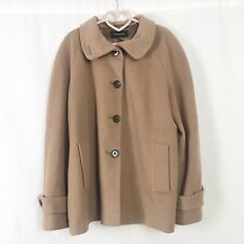 Jaeger Beige Coat Wool & Cashmere With Pockets Button Down Front UK 16