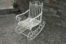 Shabby chic metal rocking chair in aged  antique cream