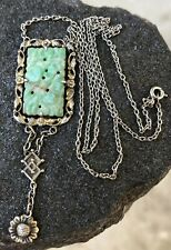 ANTIQUE OLD CHINESE CARVED GREEN & WHITE JADE SILVER DANGLE PENDANT NECKLACE
