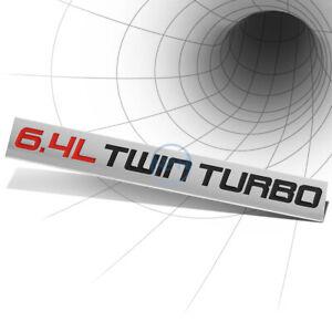 METAL EMBLEM DECAL LOGO TRIM BADGE 3D STICKER RED/BLACK 6.4L 6.4 L TWIN TURBO