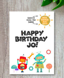 *PERSONALISED* SURPRISE BIRTHDAY Robos CARD birthday gift SCRATCH CARD