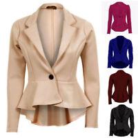 Ladies Plain Long Sleeve One Button Peplum Frill Blazer Tail Back Top Jacket