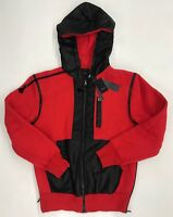 Forte Mens Zip Up Hoodie Red Black Leather Sample Size M Nice New Rare 1 Of 1