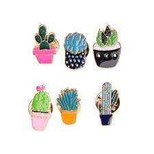 6PCS Enamel Cactus Shape Brooch Pins Set for Unisex Child Women Clothing Decor