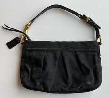 12918 Coach Signature Fabric Hamptons Jacquard Black Shoulder Purse Handbag EUC