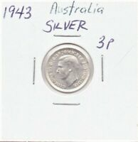 Australia 3 Pence Silver Coin Circulated 1943 King George VI As Pictured